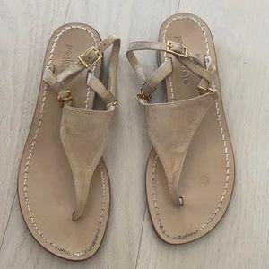 Paola Ferrara Beige Suede Sandals 37